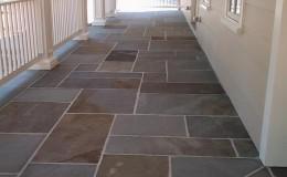 Bluestone Wrap Around Porch, mortar-laid pattern bluestone paving
