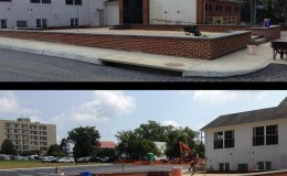 Retaining Wall, block structural, brick veneer