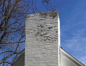 White Painted Brick Chimney Spalling