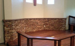 interior stone veneer church