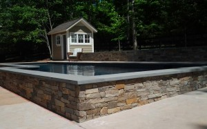 stonework masonry around pool