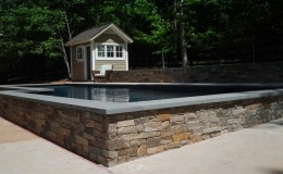 stonework masonry around pool